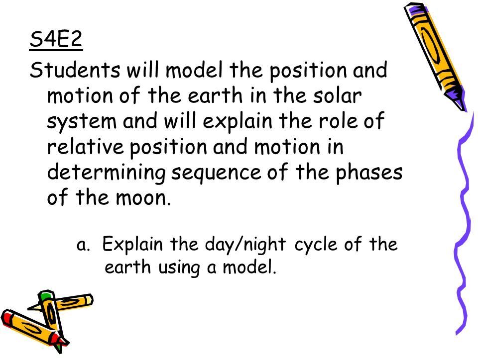 S4E2 Students will model the position and motion of the earth in the solar system and will explain the role of relative position and motion in determining sequence of the phases of the moon.