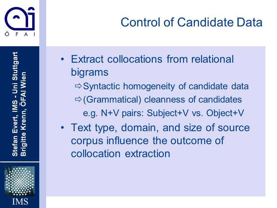 Stefan Evert, IMS - Uni Stuttgart Brigitte Krenn, ÖFAI Wien IMS Control of Candidate Data Extract collocations from relational bigrams ðSyntactic homo