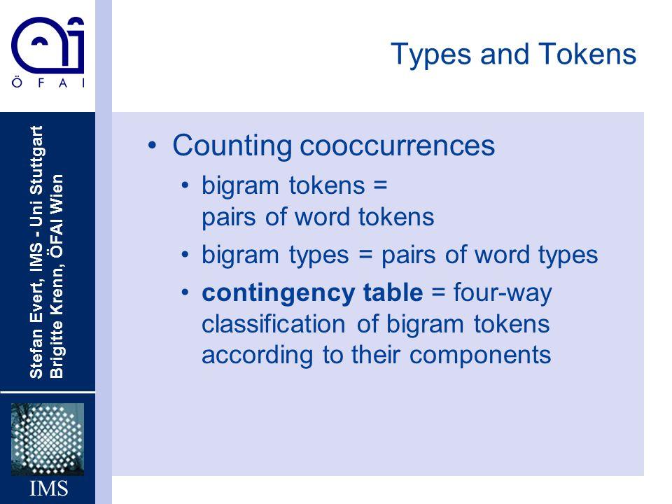 Stefan Evert, IMS - Uni Stuttgart Brigitte Krenn, ÖFAI Wien IMS Types and Tokens Counting cooccurrences bigram tokens = pairs of word tokens bigram ty