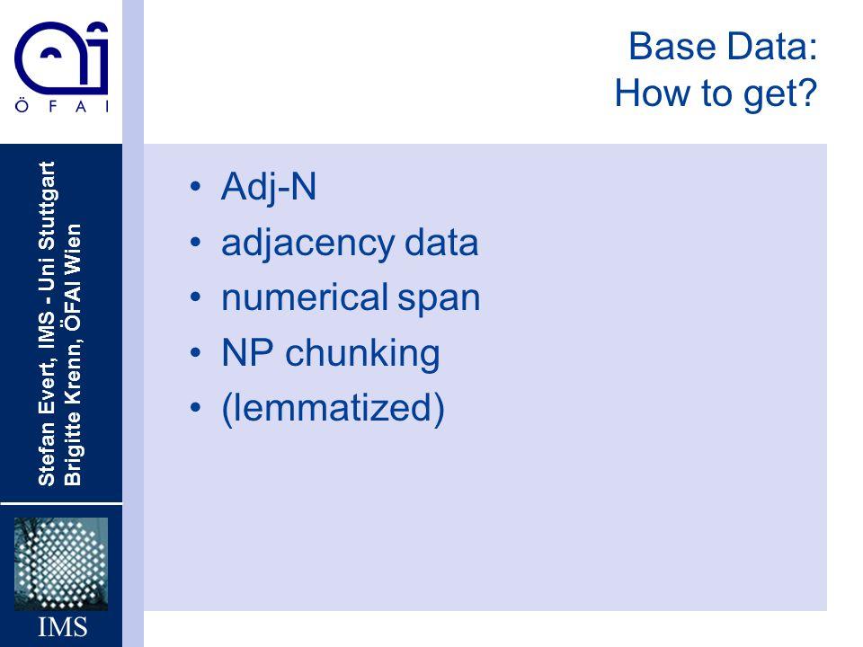 Stefan Evert, IMS - Uni Stuttgart Brigitte Krenn, ÖFAI Wien IMS Base Data: How to get? Adj-N adjacency data numerical span NP chunking (lemmatized)
