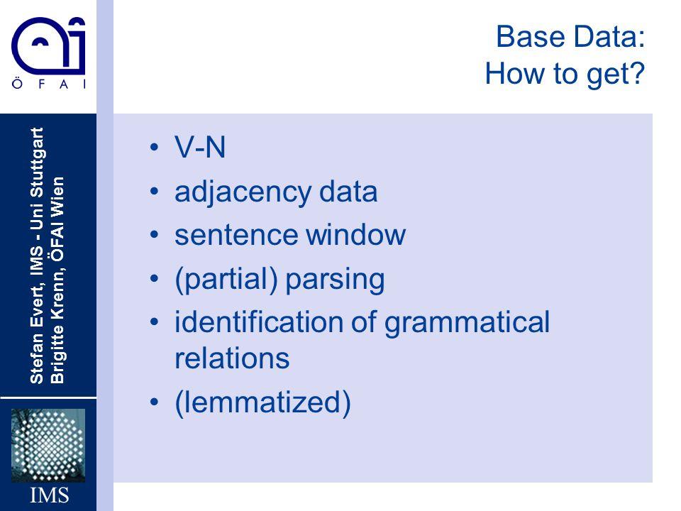 Stefan Evert, IMS - Uni Stuttgart Brigitte Krenn, ÖFAI Wien IMS Base Data: How to get? V-N adjacency data sentence window (partial) parsing identifica