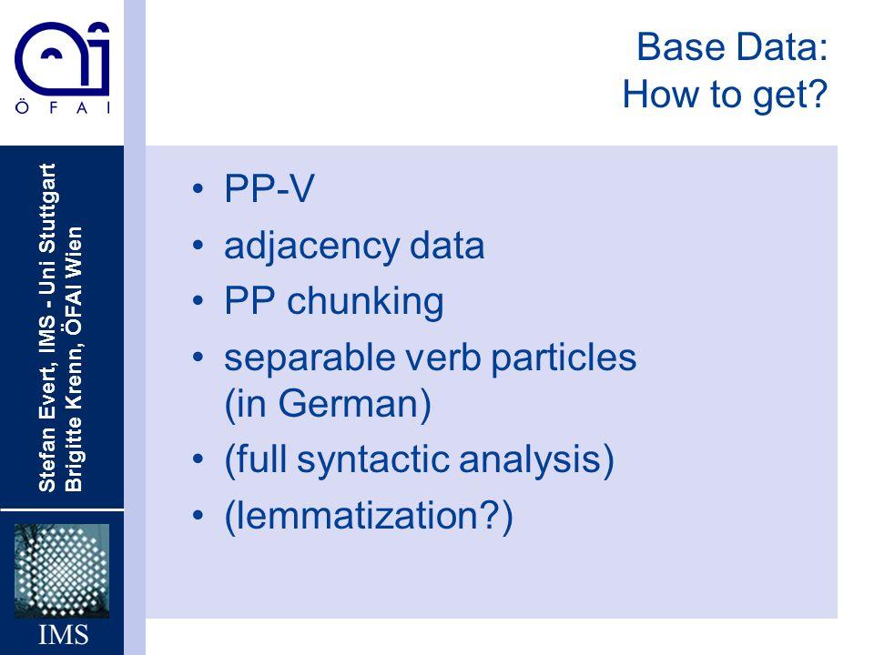Stefan Evert, IMS - Uni Stuttgart Brigitte Krenn, ÖFAI Wien IMS Base Data: How to get? PP-V adjacency data PP chunking separable verb particles (in Ge