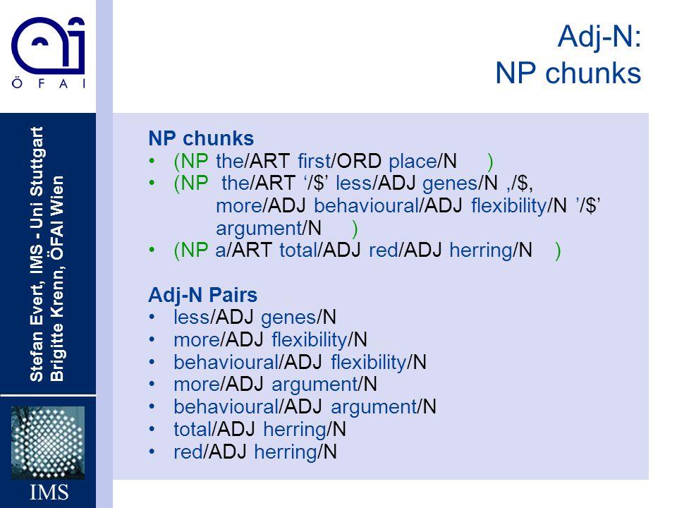 Stefan Evert, IMS - Uni Stuttgart Brigitte Krenn, ÖFAI Wien IMS Adj-N: NP chunks NP chunks (NPthe/ART first/ORD place/N) (NP the/ART /$ less/ADJ genes