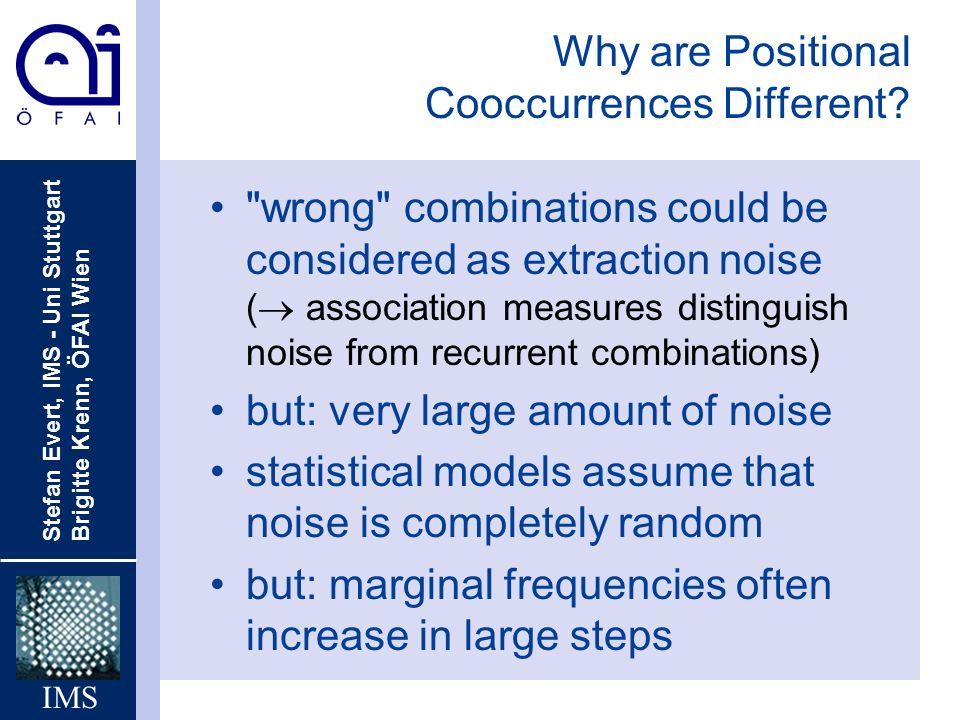 Stefan Evert, IMS - Uni Stuttgart Brigitte Krenn, ÖFAI Wien IMS Why are Positional Cooccurrences Different?