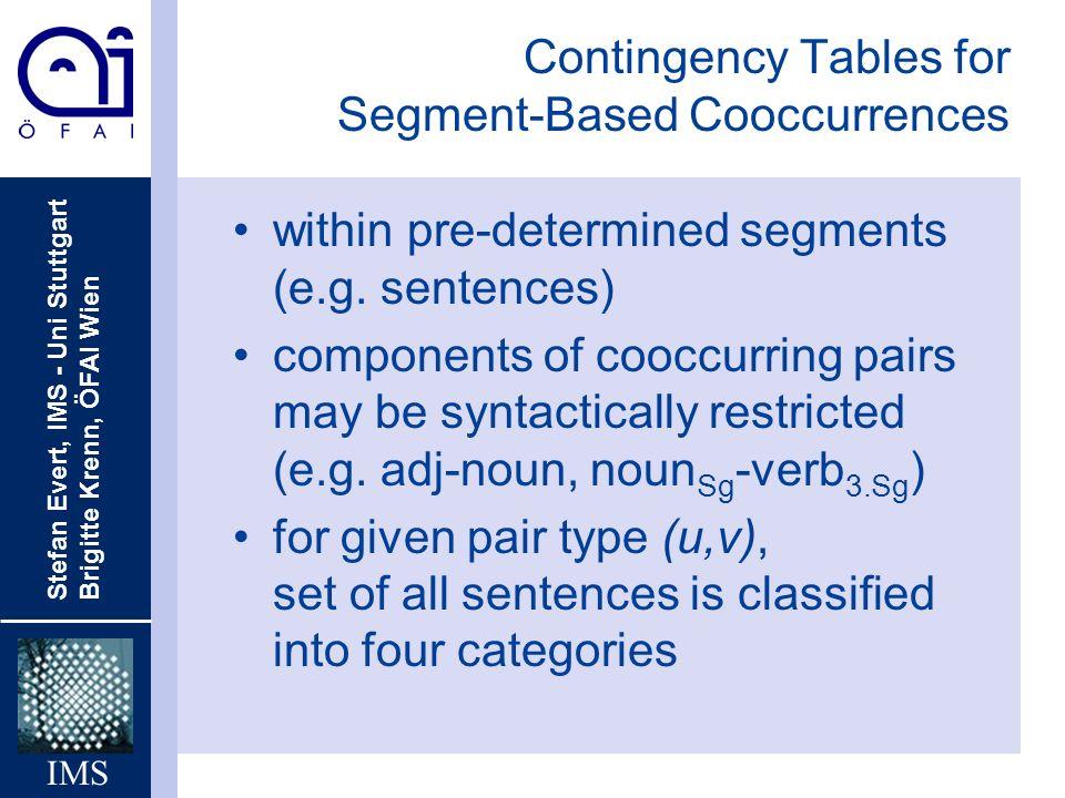 Stefan Evert, IMS - Uni Stuttgart Brigitte Krenn, ÖFAI Wien IMS Contingency Tables for Segment-Based Cooccurrences within pre-determined segments (e.g