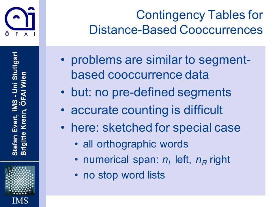 Stefan Evert, IMS - Uni Stuttgart Brigitte Krenn, ÖFAI Wien IMS Contingency Tables for Distance-Based Cooccurrences problems are similar to segment- b