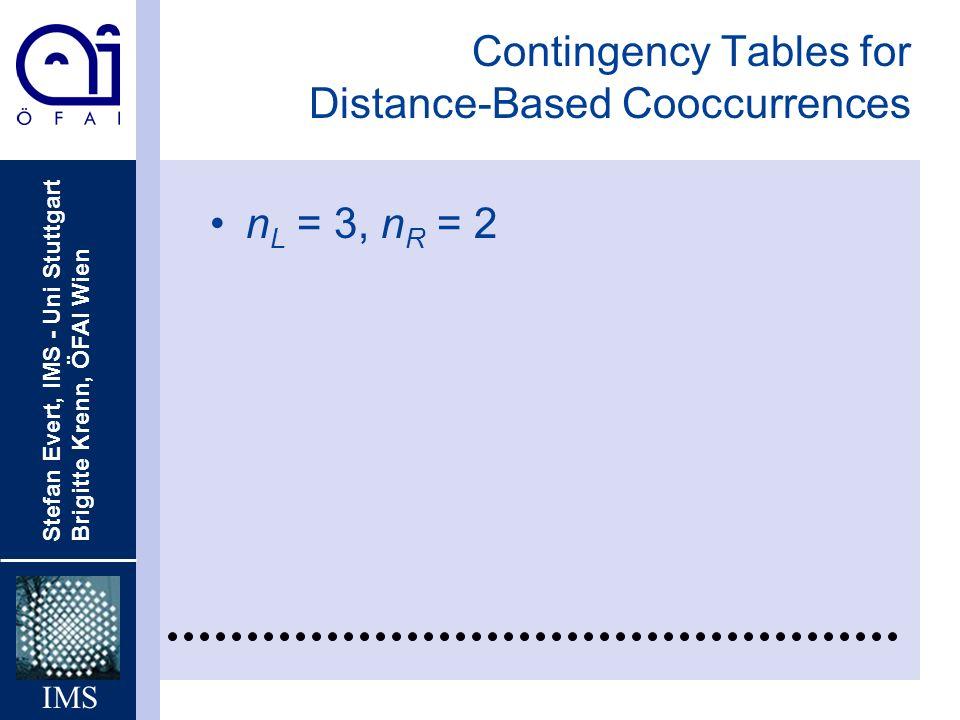 Stefan Evert, IMS - Uni Stuttgart Brigitte Krenn, ÖFAI Wien IMS Contingency Tables for Distance-Based Cooccurrences n L = 3, n R = 2