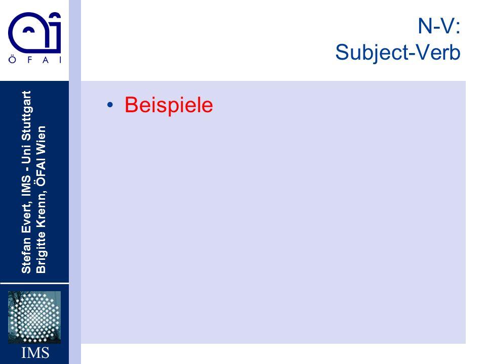 Stefan Evert, IMS - Uni Stuttgart Brigitte Krenn, ÖFAI Wien IMS N-V: Subject-Verb Beispiele
