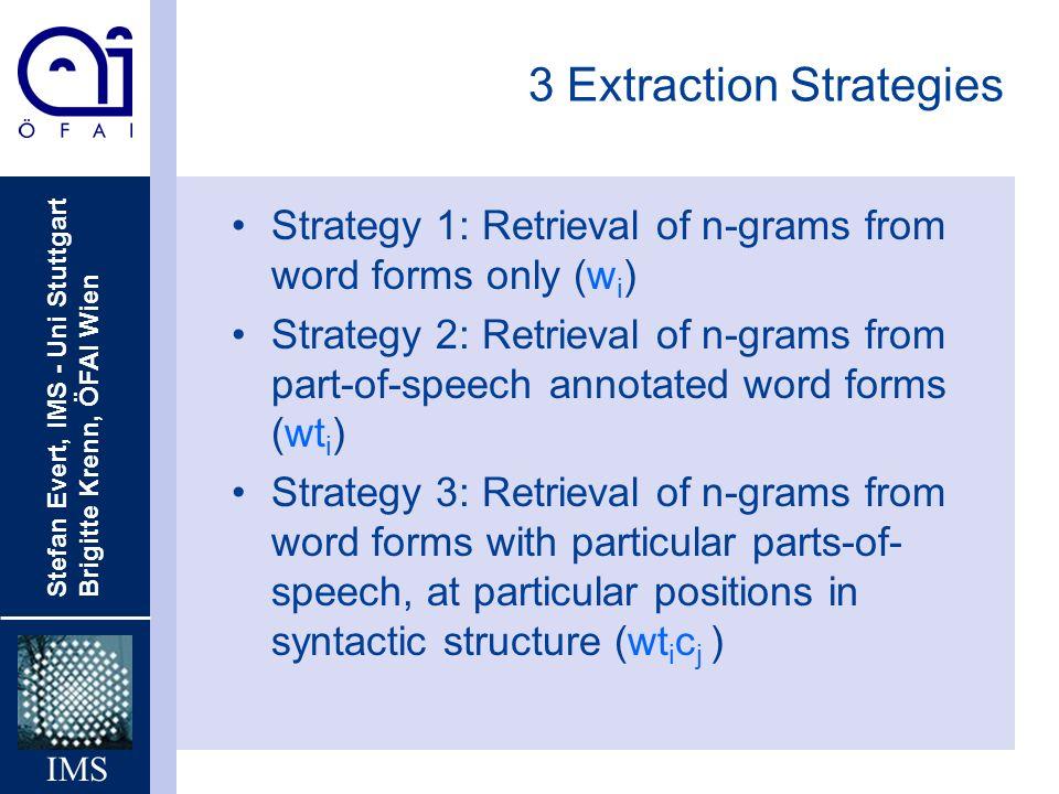 Stefan Evert, IMS - Uni Stuttgart Brigitte Krenn, ÖFAI Wien IMS 3 Extraction Strategies Strategy 1: Retrieval of n-grams from word forms only (w i ) S