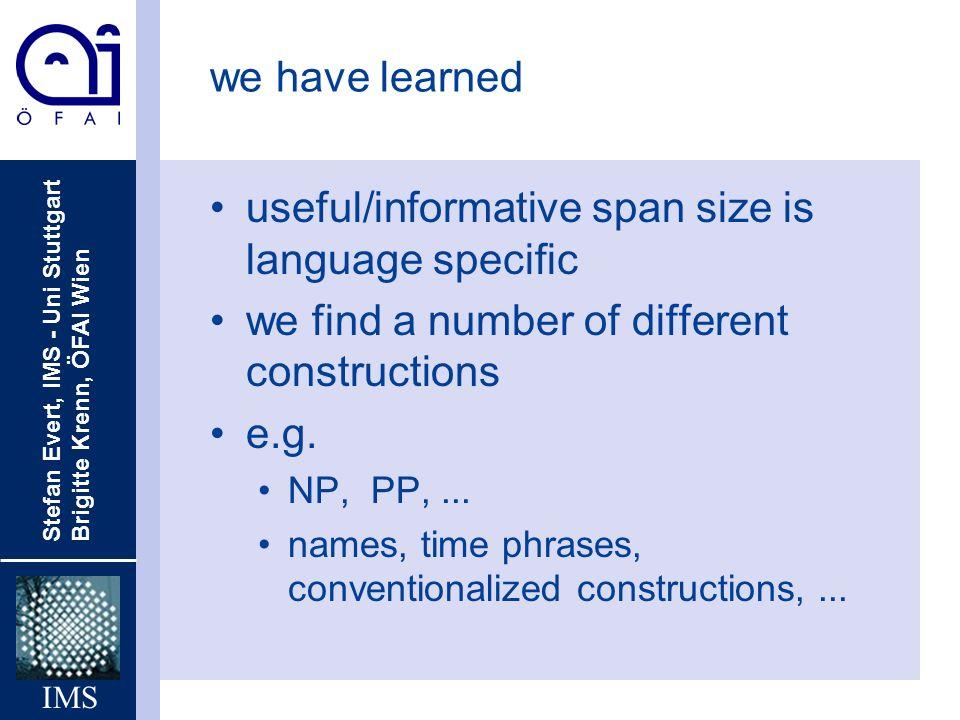 Stefan Evert, IMS - Uni Stuttgart Brigitte Krenn, ÖFAI Wien IMS we have learned useful/informative span size is language specific we find a number of