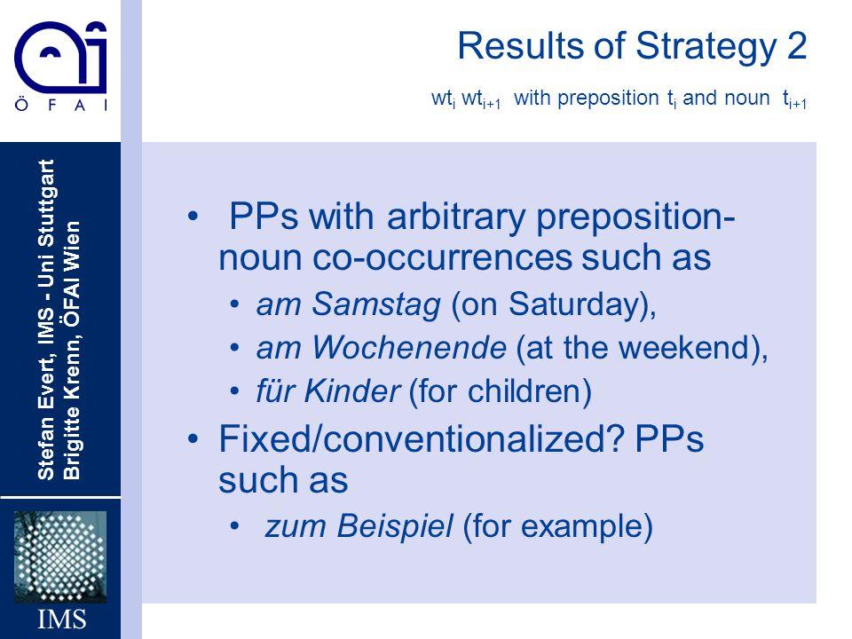 Stefan Evert, IMS - Uni Stuttgart Brigitte Krenn, ÖFAI Wien IMS Results of Strategy 2 wt i wt i+1 with preposition t i and noun t i+1 PPs with arbitra