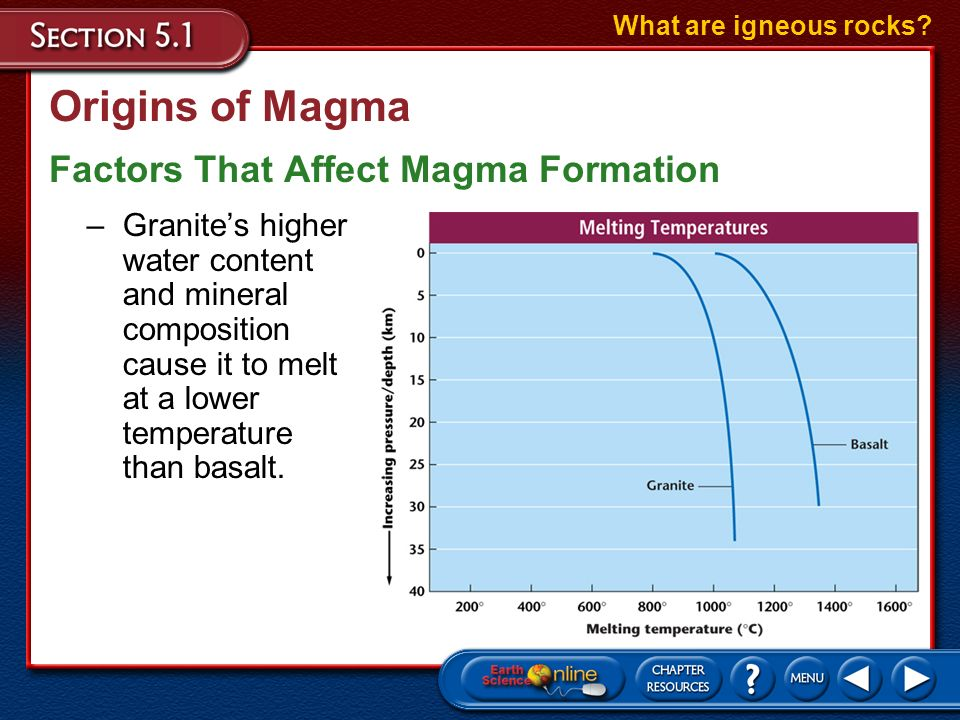 Origins of Magma Factors That Affect Magma Formation What are igneous rocks? –Mineral content also impacts how magma is formed as different minerals h