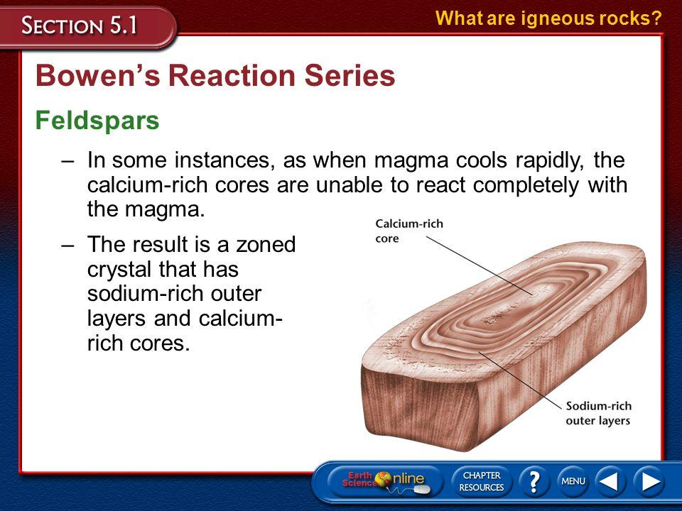 Bowens Reaction Series Feldspars What are igneous rocks? –In Bowens reaction series, the right branch represents the feldspar minerals, which undergo