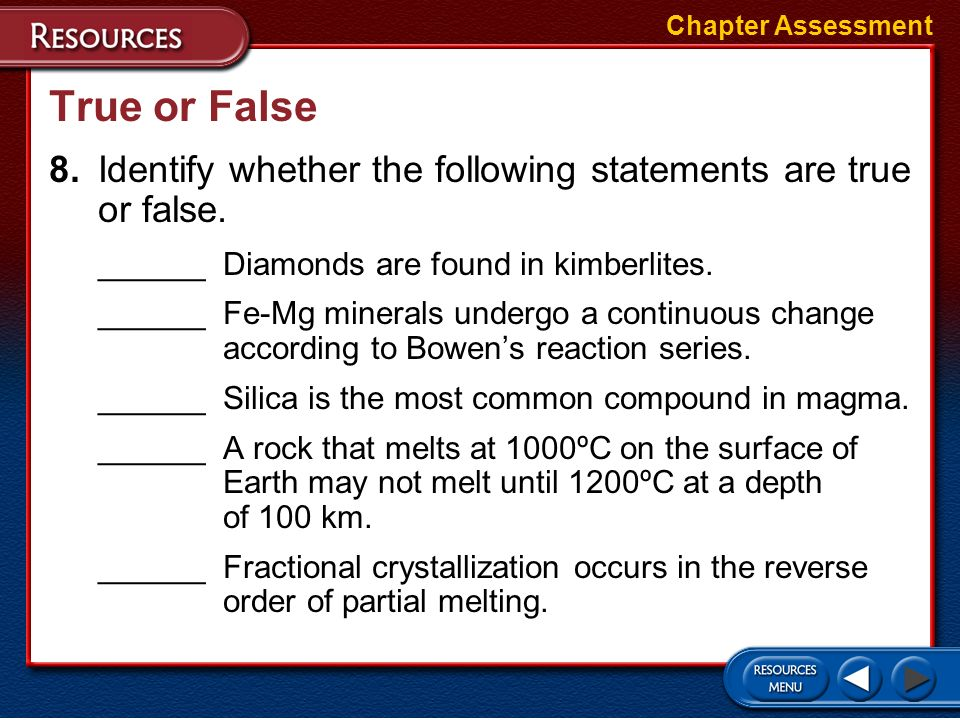 Short Answer 7.What causes a porphyritic texture to form in certain rocks? Chapter Assessment