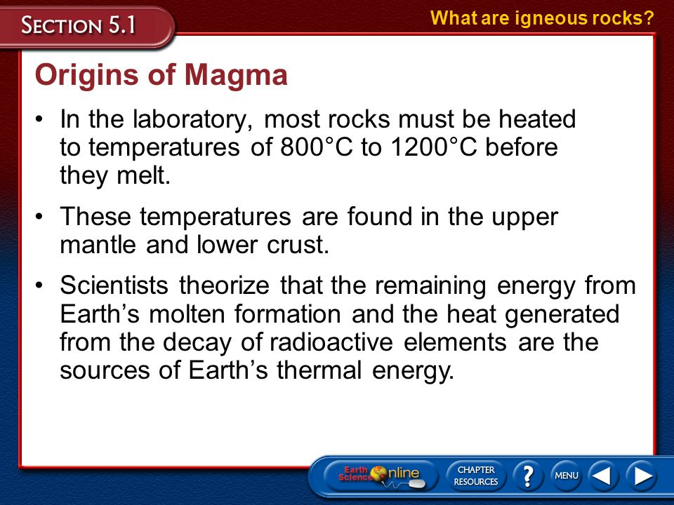 Composition of Magma Magmas are classified as basaltic, andesitic, and rhyolitic, based on the amount of SiO 2 they contain. What are igneous rocks? O