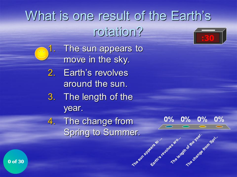 What is one result of the Earths rotation? 1.The sun appears to move in the sky. 2.Earths revolves around the sun. 3.The length of the year. 4.The cha