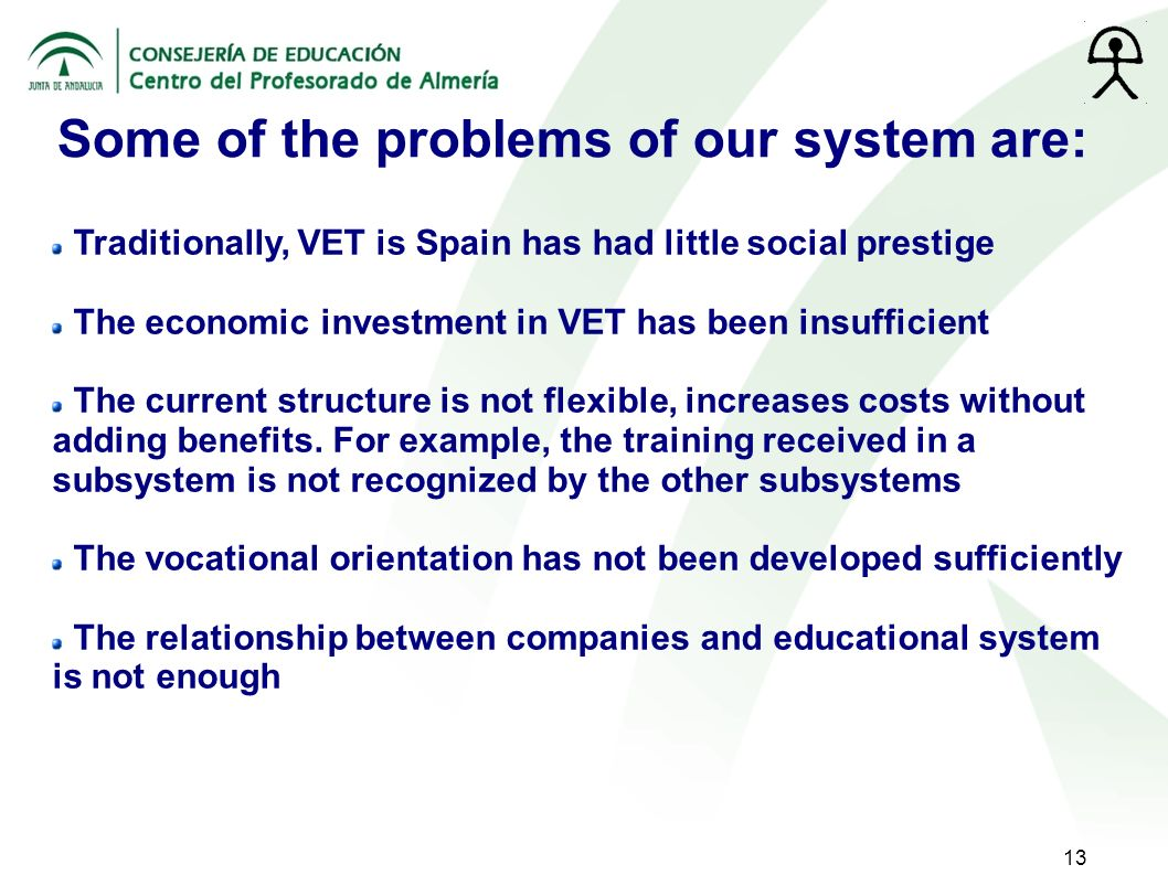 13 Some of the problems of our system are: Traditionally, VET is Spain has had little social prestige The economic investment in VET has been insufficient The current structure is not flexible, increases costs without adding benefits.