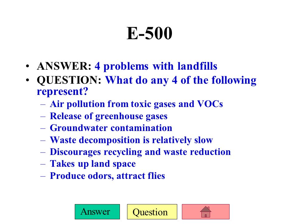 Question Answer E-400 ANSWER: 3 types of toxic/hazardous substances found in hazardous waste QUESTION: What are 3 of: –PVC –Cadmium –Lead –Mercury