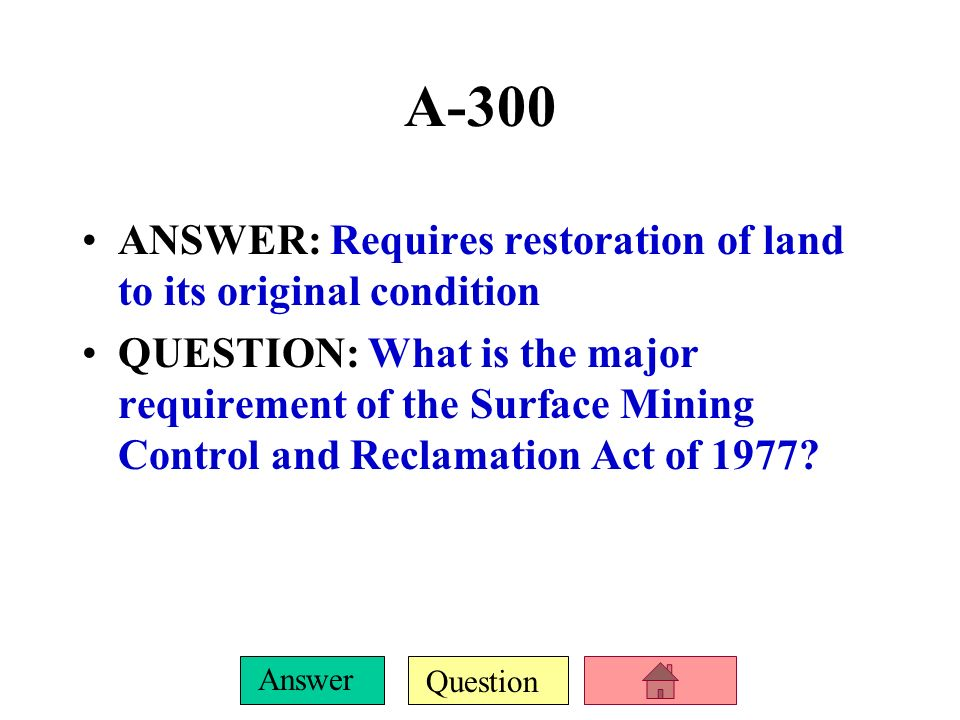 Question Answer A-200 ANSWER: The governing law and program that pay to clean up inactive/abandoned hazardous waste sites QUESTION: What are CERCLA 1