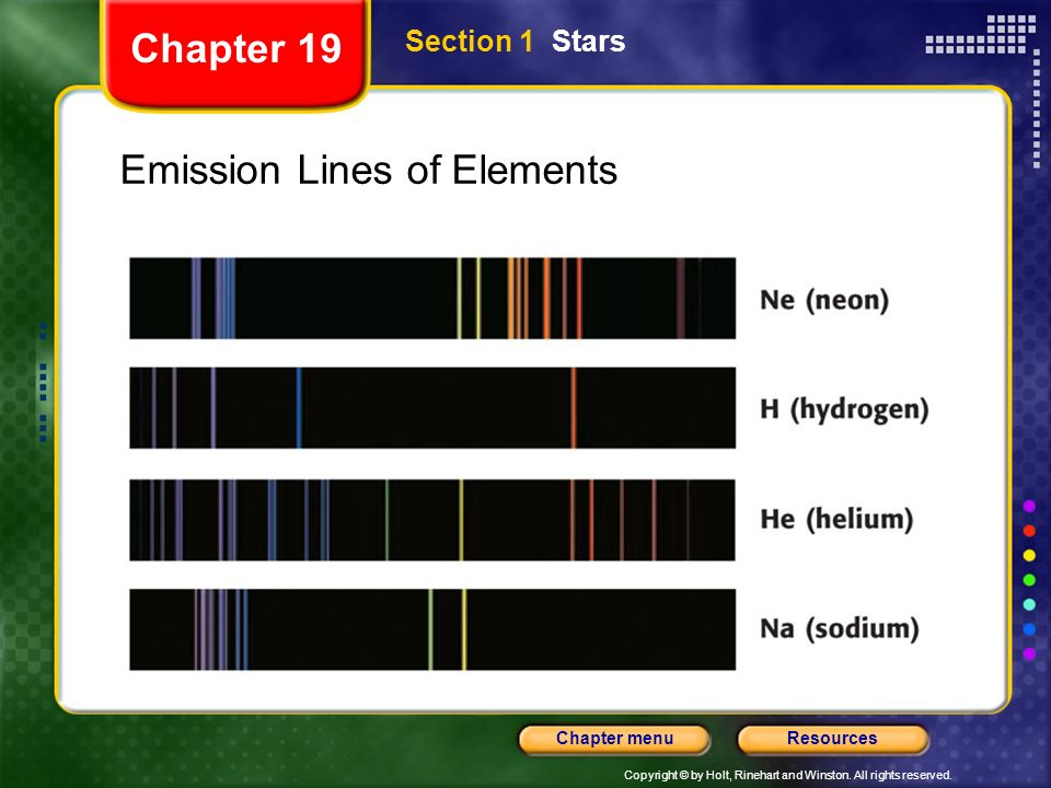 Copyright © by Holt, Rinehart and Winston. All rights reserved. ResourcesChapter menu Section 1 Stars Chapter 19 Emission Lines of Elements