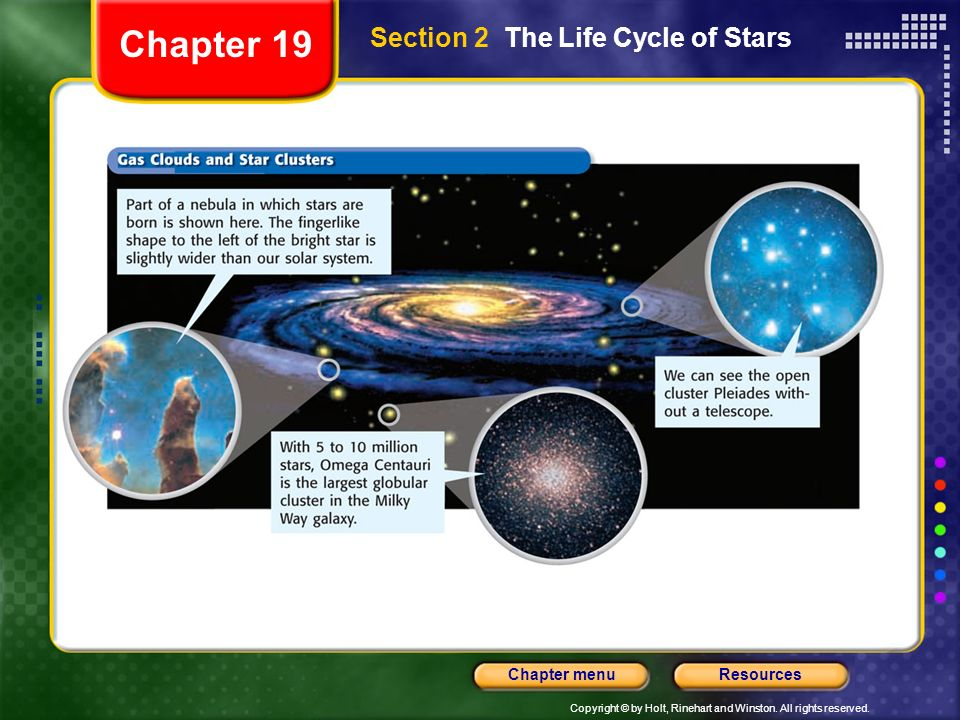 Copyright © by Holt, Rinehart and Winston. All rights reserved. ResourcesChapter menu Section 2 The Life Cycle of Stars Chapter 19