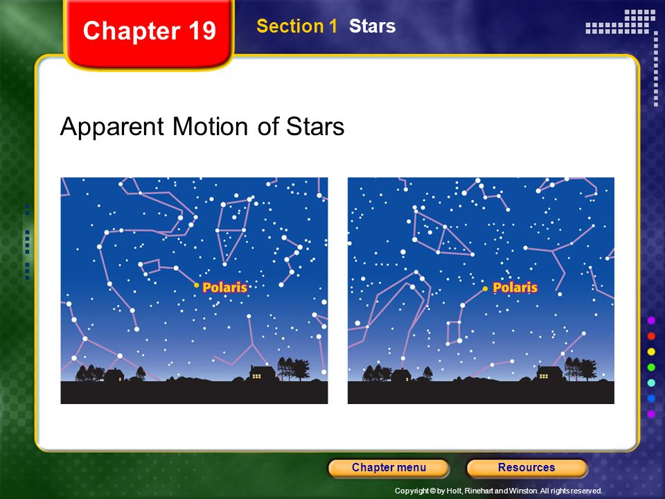Copyright © by Holt, Rinehart and Winston. All rights reserved. ResourcesChapter menu Section 1 Stars Chapter 19 Apparent Motion of Stars