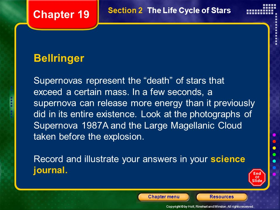 Copyright © by Holt, Rinehart and Winston. All rights reserved. ResourcesChapter menu Section 2 The Life Cycle of Stars Bellringer Supernovas represen
