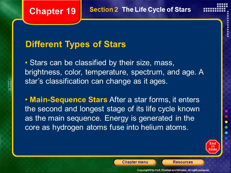 Copyright © by Holt, Rinehart and Winston. All rights reserved. ResourcesChapter menu Section 2 The Life Cycle of Stars Different Types of Stars Stars