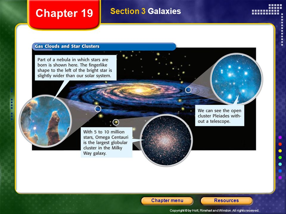 Copyright © by Holt, Rinehart and Winston. All rights reserved. ResourcesChapter menu Section 3 Galaxies Chapter 19