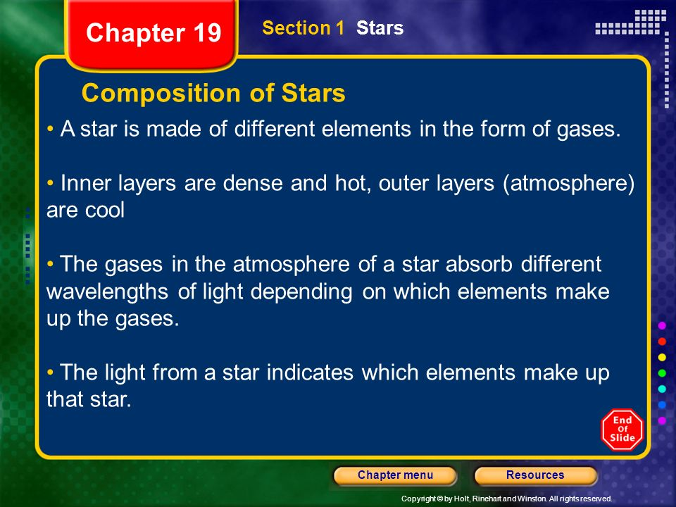 Copyright © by Holt, Rinehart and Winston. All rights reserved. ResourcesChapter menu Section 1 Stars Composition of Stars A star is made of different