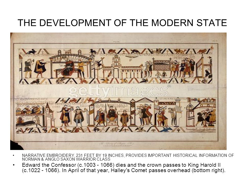 THE DEVELOPMENT OF THE MODERN STATE NARRATIVE EMBROIDERY, 231 FEET BY 19 INCHES, PROVIDES IMPORTANT HISTORICAL INFORMATION OF NORMAN & ANGLO SAXON WAR