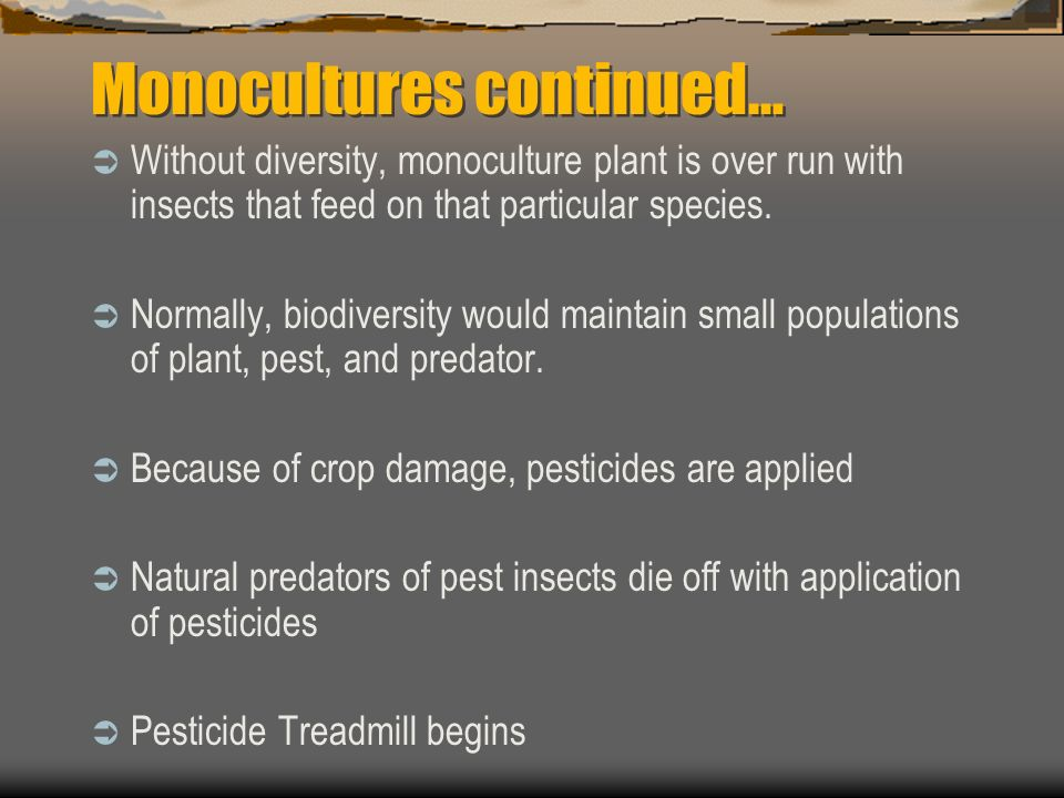 Monocultures One species of land cover or crop Examples: Cornfield Residential Lawn No diversity results in unbalanced ecosystem