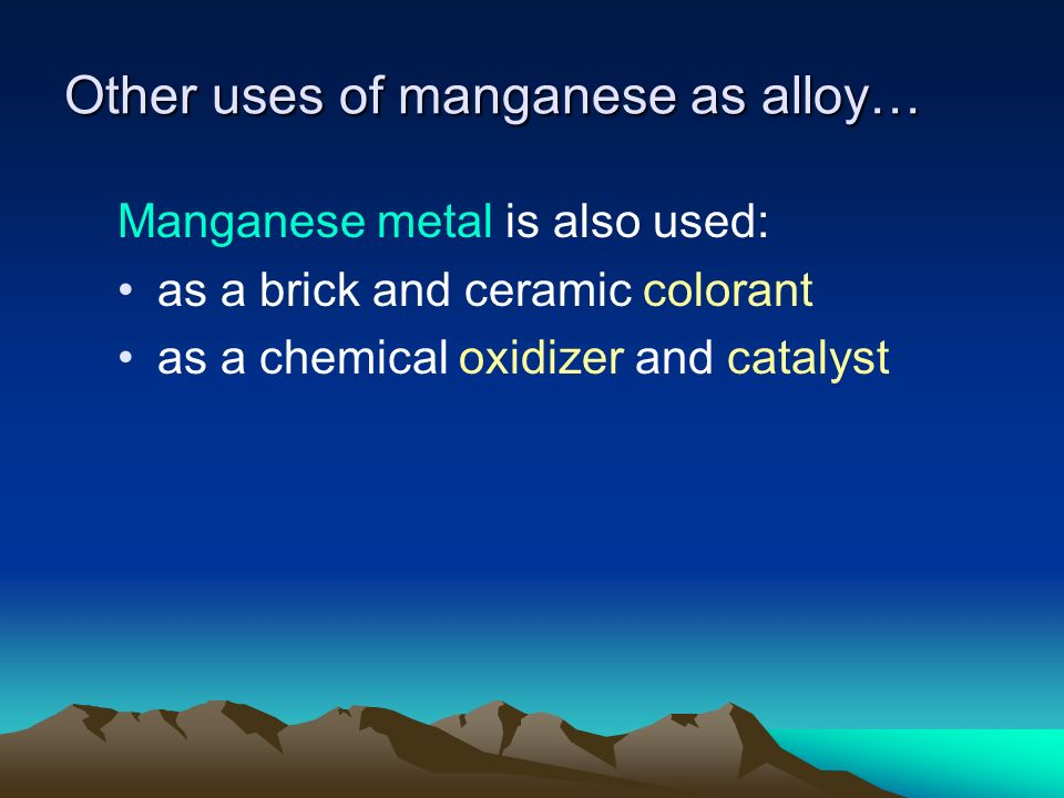 Industrial Uses of Manganese Compounds Manganese dioxide (MnO2) is used to: manufacture ferroalloys manufacture dry cell batteries decolorize glass prepare some chemicals, like oxygen & chlorine dry black paints