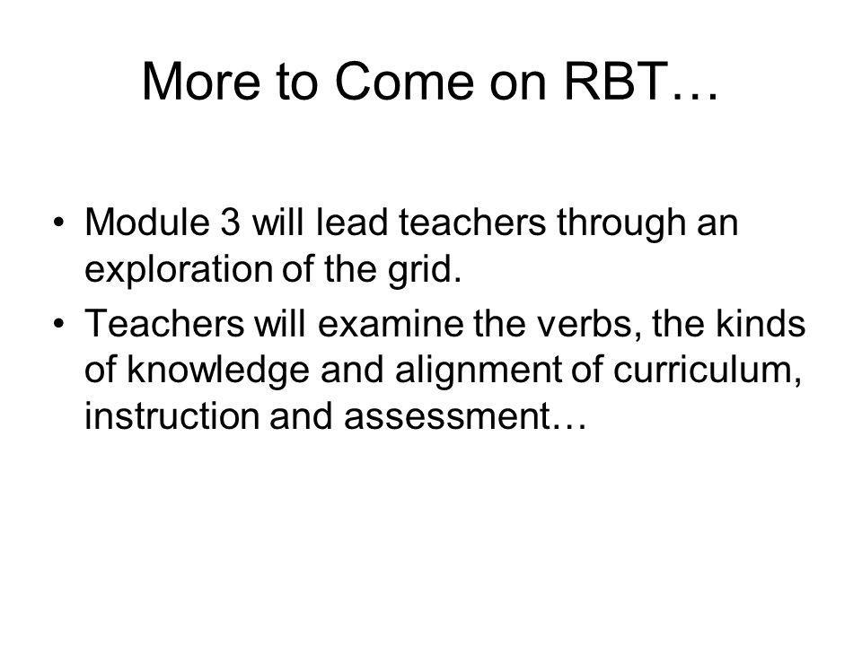 More to Come on RBT… Module 3 will lead teachers through an exploration of the grid.