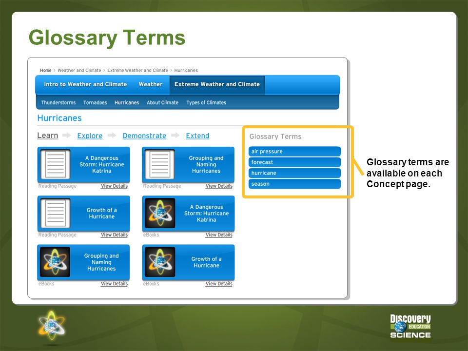 Glossary Terms Glossary terms are available on each Concept page.