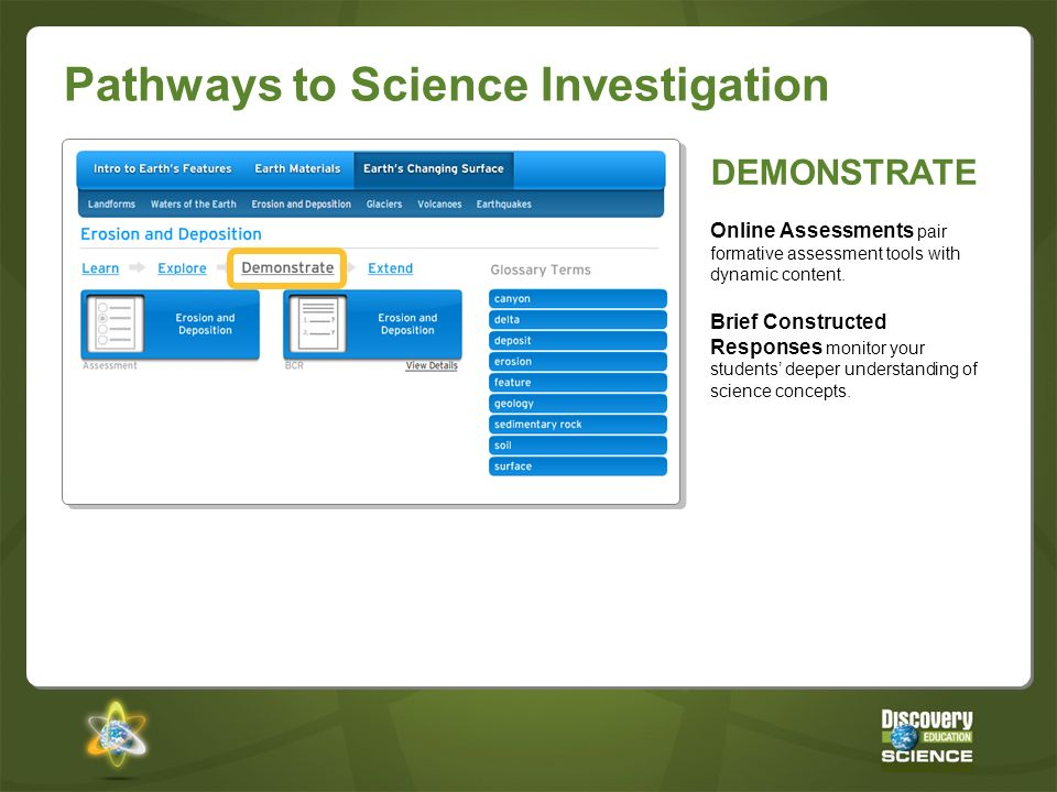 Pathways to Science Investigation DEMONSTRATE Online Assessments pair formative assessment tools with dynamic content. Brief Constructed Responses mon