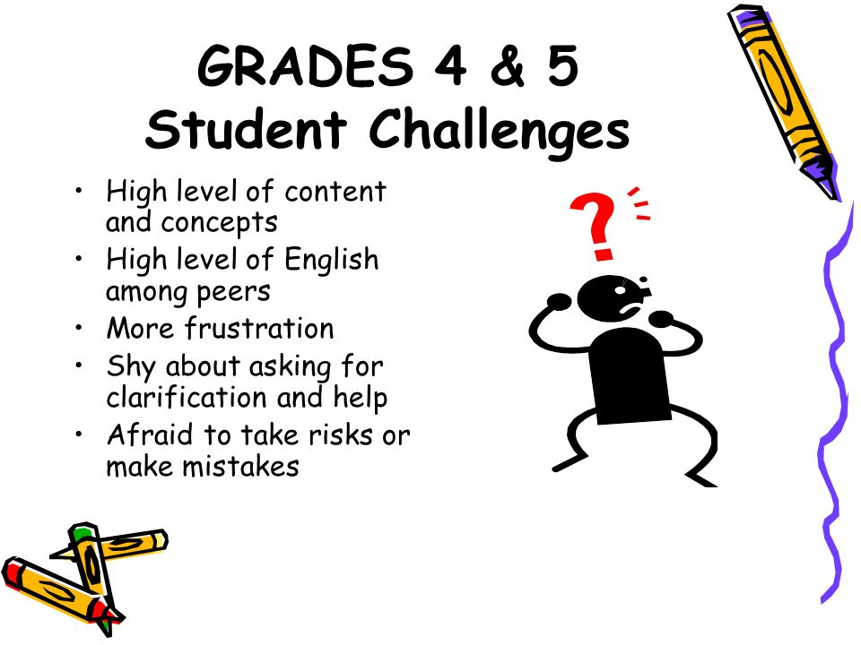 GRADES 4 & 5 Student Challenges High level of content and concepts High level of English among peers More frustration Shy about asking for clarificati