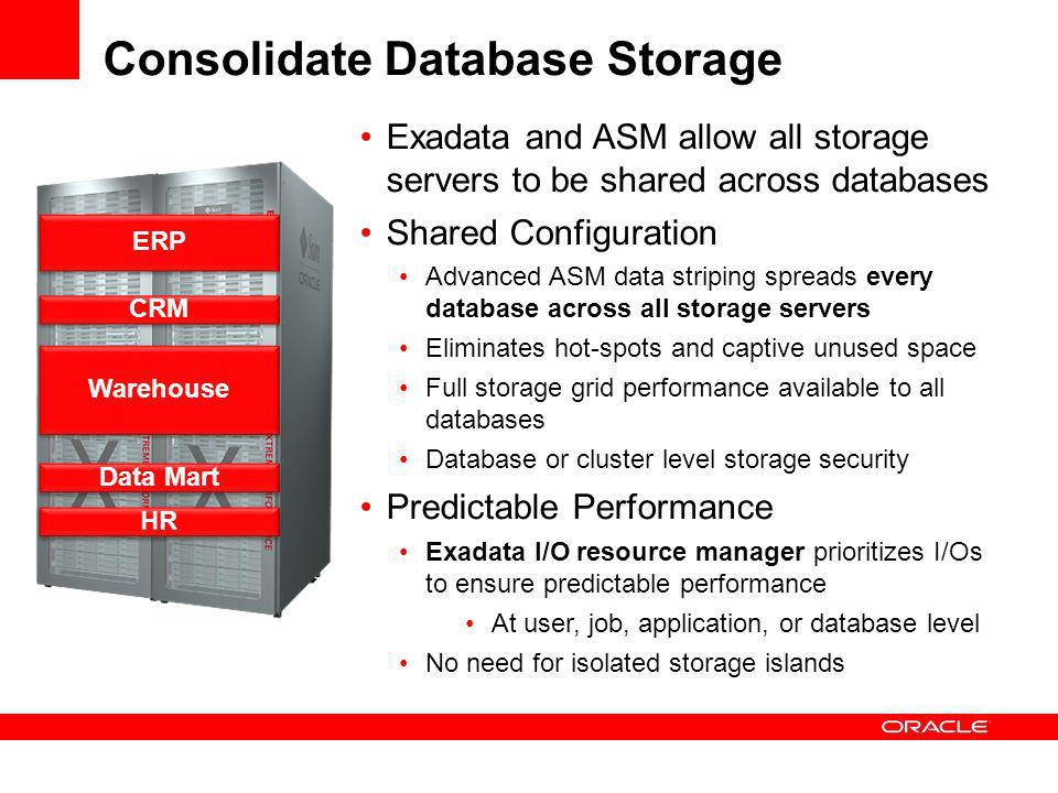 Consolidate Database Storage Exadata and ASM allow all storage servers to be shared across databases Shared Configuration Advanced ASM data striping spreads every database across all storage servers Eliminates hot-spots and captive unused space Full storage grid performance available to all databases Database or cluster level storage security Predictable Performance Exadata I/O resource manager prioritizes I/Os to ensure predictable performance At user, job, application, or database level No need for isolated storage islands ERP CRM Warehouse Data Mart HR