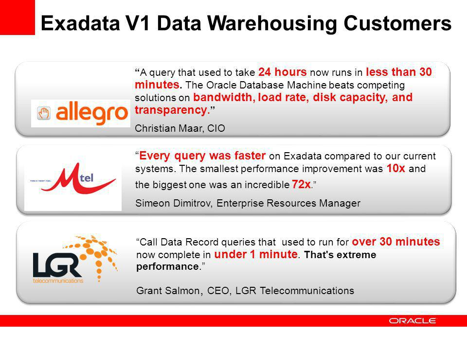 Every query was faster on Exadata compared to our current systems. The smallest performance improvement was 10x and the biggest one was an incredible