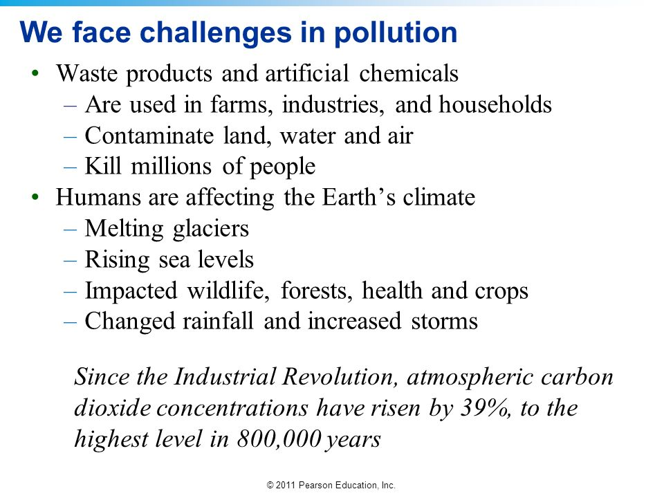 © 2011 Pearson Education, Inc. We face challenges in pollution Waste products and artificial chemicals –Are used in farms, industries, and households