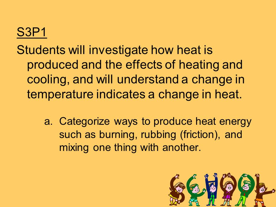 S3P1 Students will investigate how heat is produced and the effects of heating and cooling, and will understand a change in temperature indicates a change in heat.