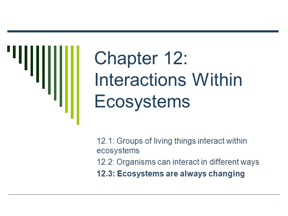 Chapter 12: Interactions Within Ecosystems 12.1: Groups of living things interact within ecosystems 12.2: Organisms can interact in different ways 12.