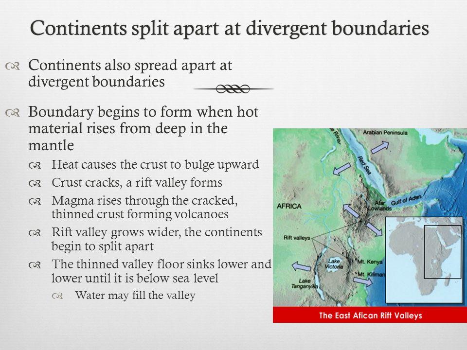 Continents split apart at divergent boundariesContinents split apart at divergent boundaries Continents also spread apart at divergent boundaries Boun