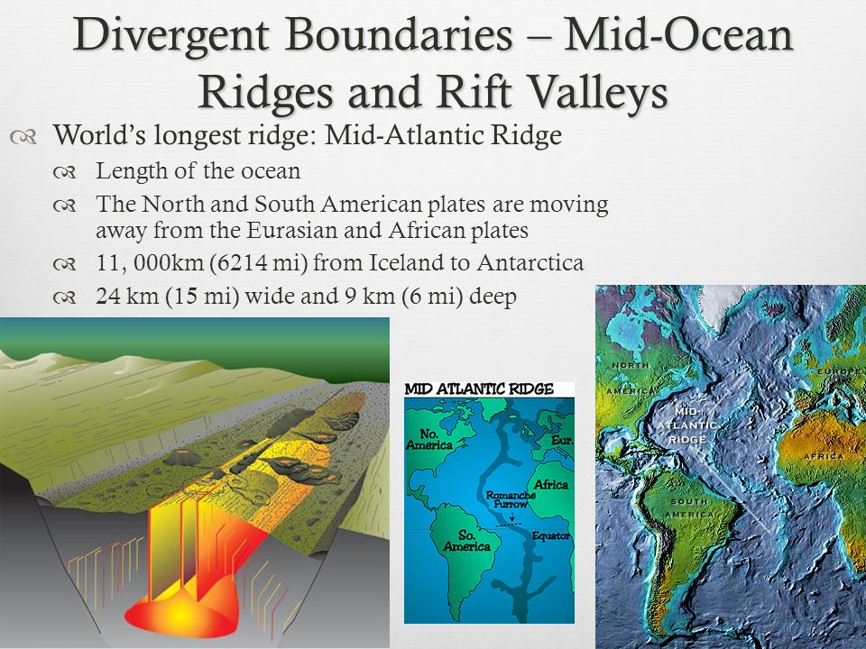 Divergent Boundaries – Mid-Ocean Ridges and Rift Valleys Worlds longest ridge: Mid-Atlantic Ridge Length of the ocean The North and South American pla