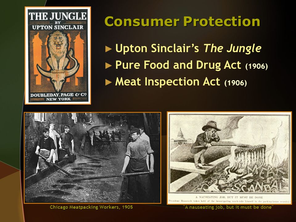 Consumer Protection Upton Sinclairs The Jungle Pure Food and Drug Act (1906) Meat Inspection Act (1906) Chicago Meatpacking Workers, 1905