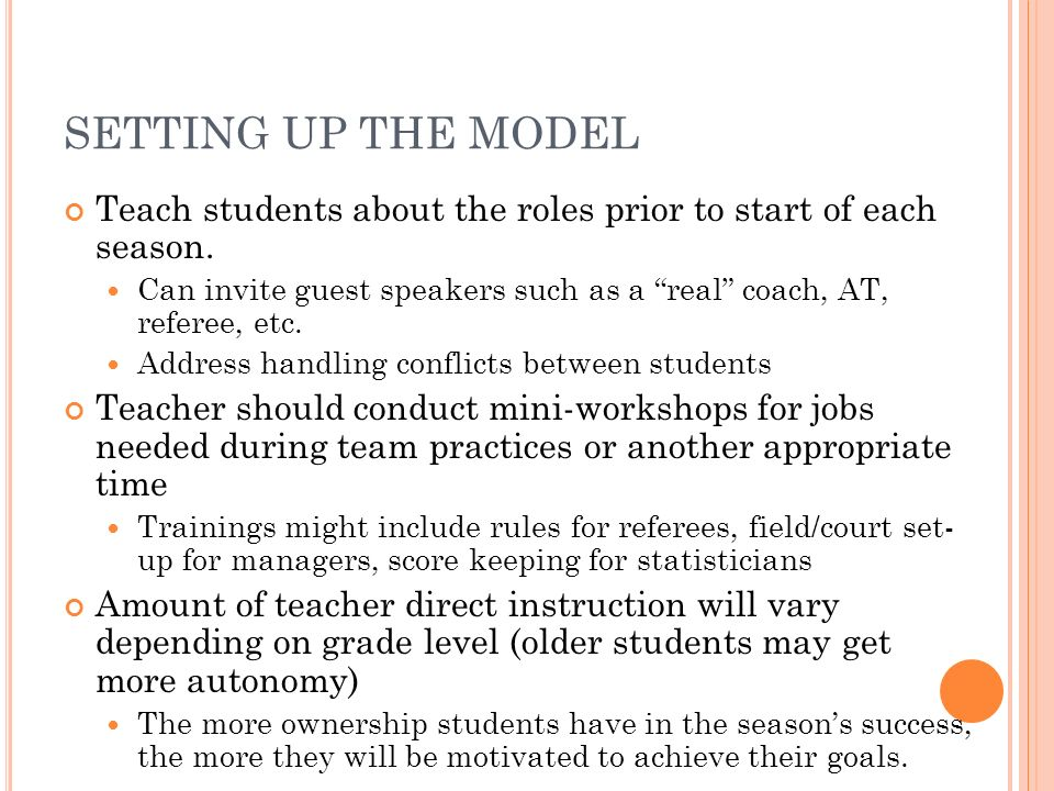 SETTING UP THE MODEL Teach students about the roles prior to start of each season.
