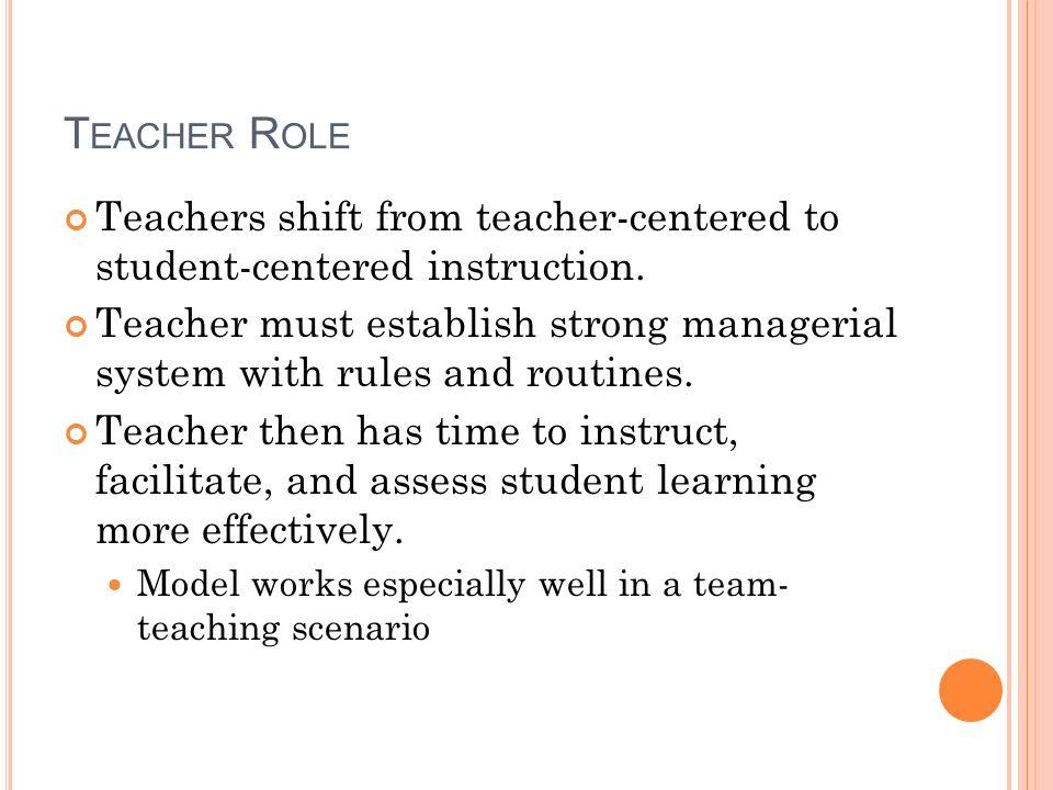 T EACHER R OLE Teachers shift from teacher-centered to student-centered instruction.