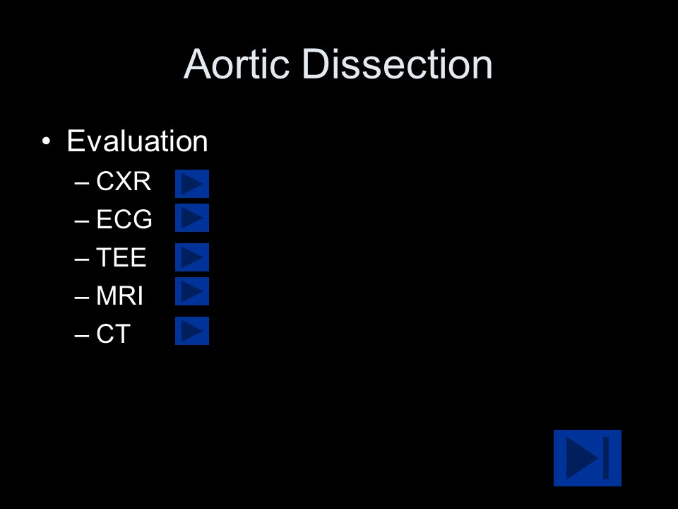 Aortic Dissection Evaluation –CXR –ECG –TEE –MRI –CT