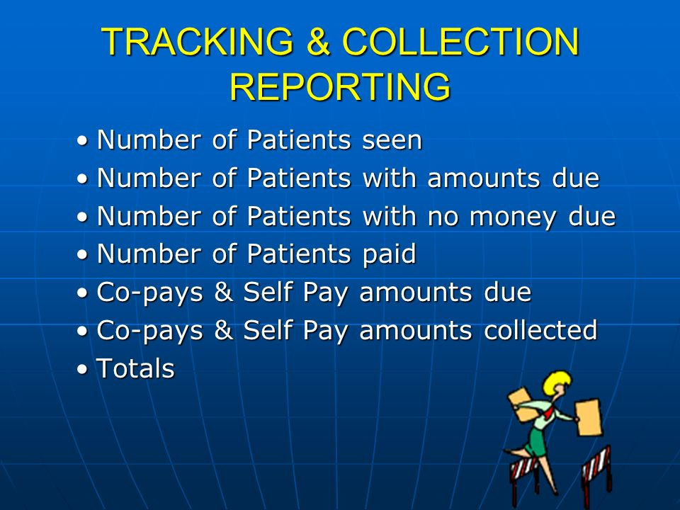 TRACKING & COLLECTION REPORTING Number of Patients seenNumber of Patients seen Number of Patients with amounts dueNumber of Patients with amounts due