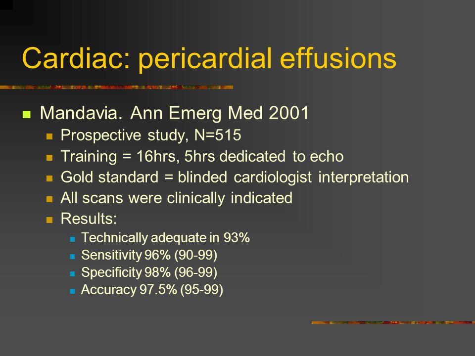 Cardiac: pericardial effusions Mandavia.